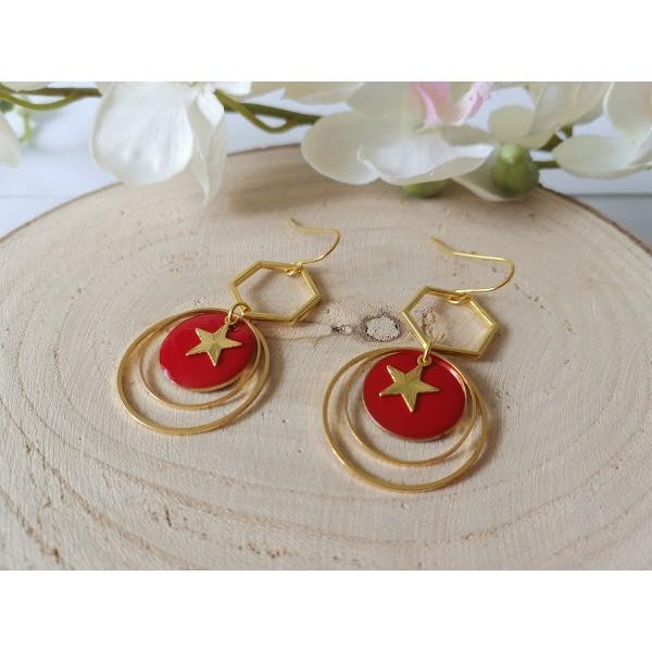 Kit boucles d'oreilles anneaux dorés et sequin émail rouge - Photo n°2