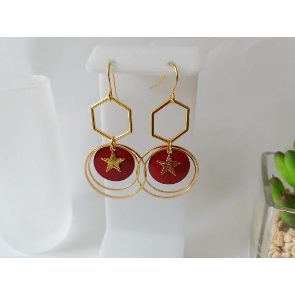 Kit boucles d'oreilles anneaux dorés et sequin émail rouge - Photo n°1