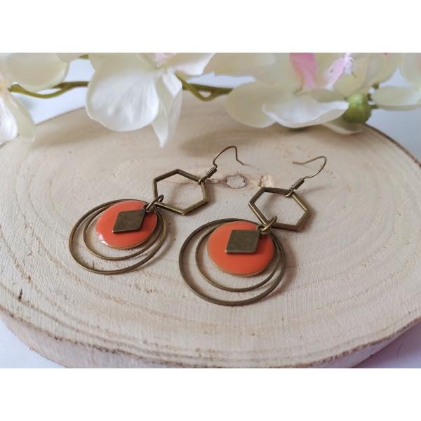 Kit boucles d'oreilles anneaux bronze et sequin émail orange - Photo n°2