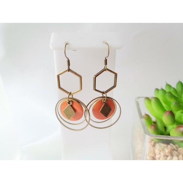 Kit boucles d'oreilles anneaux bronze et sequin émail orange - Photo n°1
