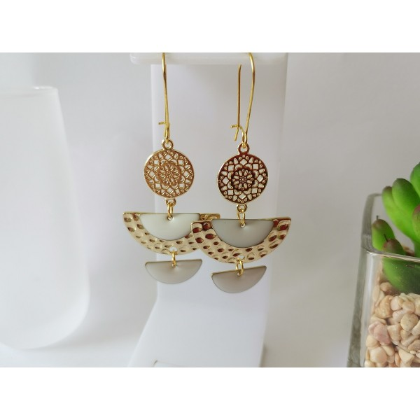 Kit boucles d'oreilles pendentif demi rond métal doré et émail blanc - Photo n°1