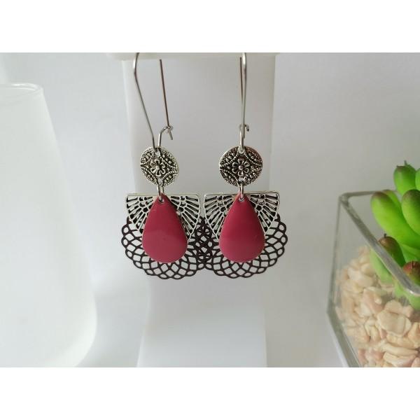 Kit boucles d'oreilles pendentif métal, estampe et émail prune - Photo n°1