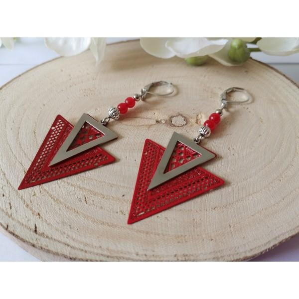 Kit boucles d'oreilles pendentif métal triangle rouge et argent mat - Photo n°2