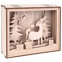 Kit Cadre 3D en bois - Licorne de Noël - 15,5 x 3,8 x 12,5 cm