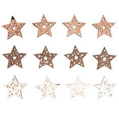 Mini formes en bois - Étoiles - 3,5 cm - 12 pcs