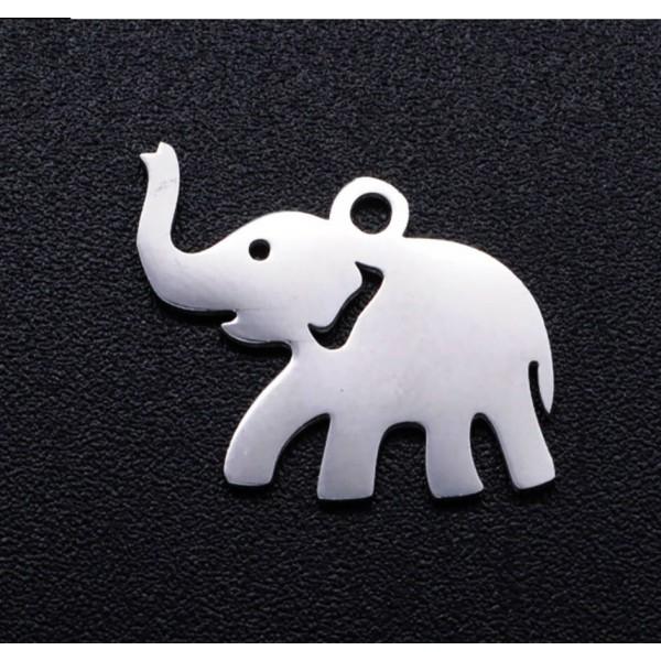 3 breloques pendentifs charms médailles argenté ELEPHANT - Photo n°1
