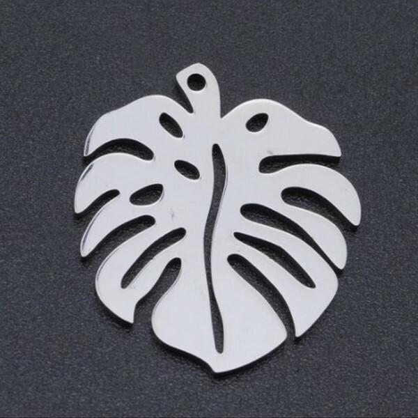 2 breloques pendentifs charms médailles argenté FEUILLE - Photo n°1