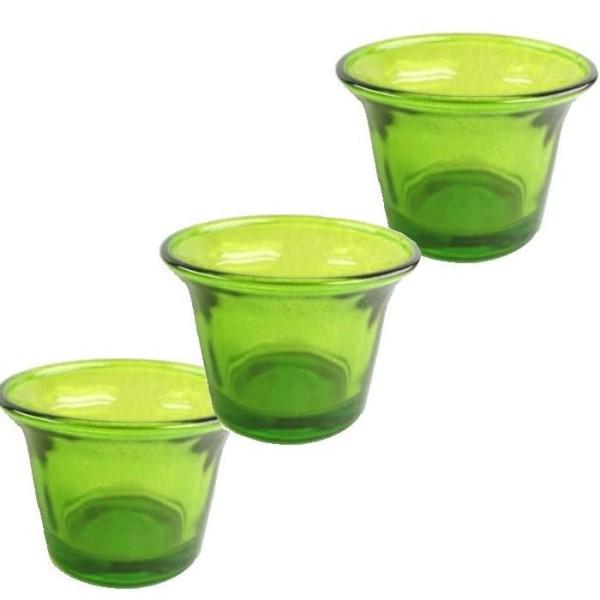 6 Photophores en verre vert anis - Photo n°1