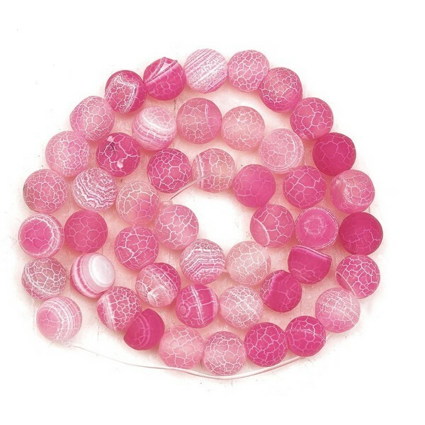 20 perles ronde en pierre naturelle AGATE CRAQUELLE MAT 8 mm ROSE - Photo n°1