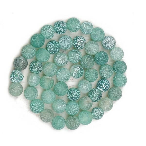 20 perles ronde en pierre naturelle AGATE CRAQUELLE MAT 8 mm VERT D EAU - Photo n°1