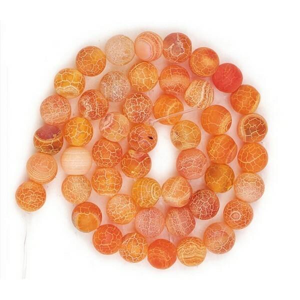 20 perles ronde en pierre naturelle AGATE CRAQUELLE MAT 8 mm ORANGE - Photo n°1