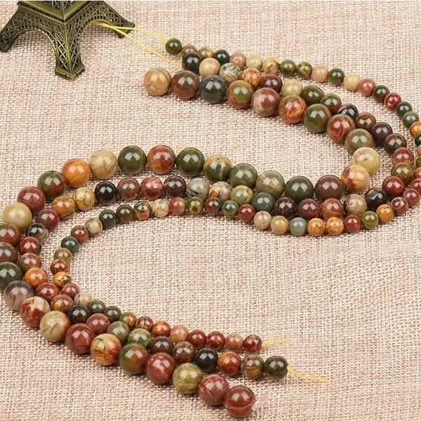 15 perles ronde en pierre naturelle PICASSO 8 mm MARRON VERT - Photo n°1