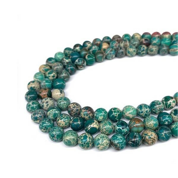 15 perles ronde en pierre naturelle JASPE 8 mm  VERT - Photo n°1