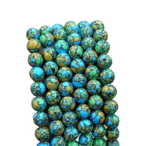 15 perles ronde en pierre naturelle TURQUOISE TRICOLORE 8 mm - Photo n°1