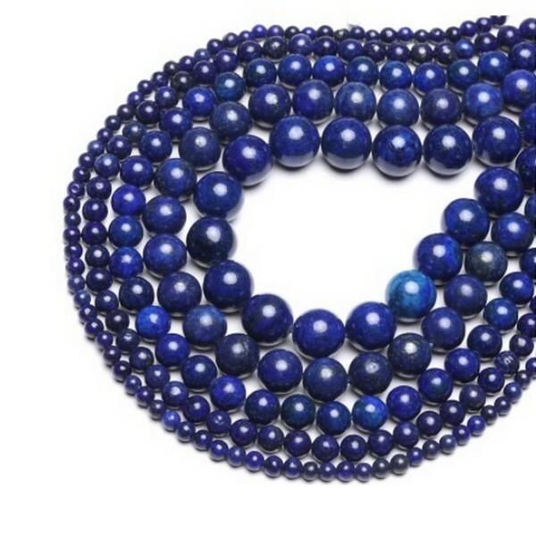 20 perles ronde en pierre naturelle LAPIS LAZULI 6 mm  BLEU - Photo n°1