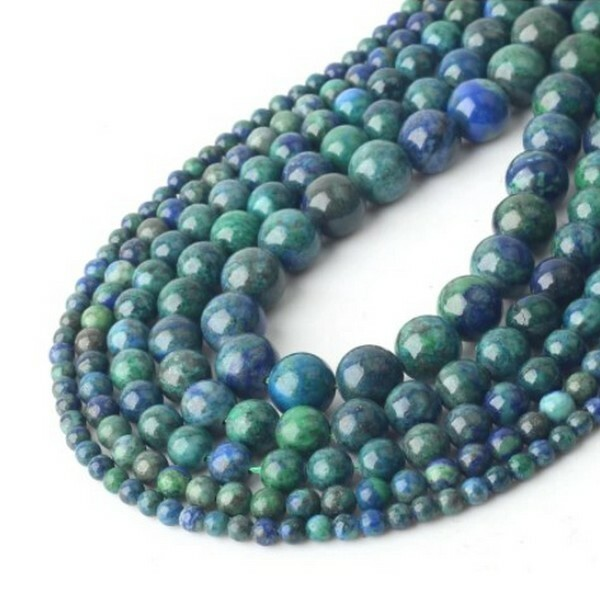 15 perles ronde en pierre naturelle LAPIS LAZULI 8 mm BLEU VERT - Photo n°1