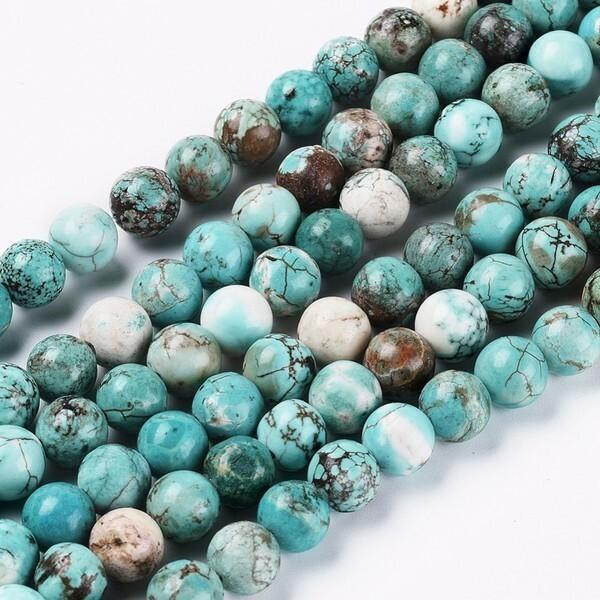 Fil de 45 perles ronde en pierre naturelle TURQUOISE  8 mm - Photo n°1