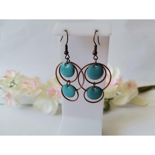 Kit boucles d'oreilles double anneaux cuivre rouge et sequins émail bleu - Photo n°1