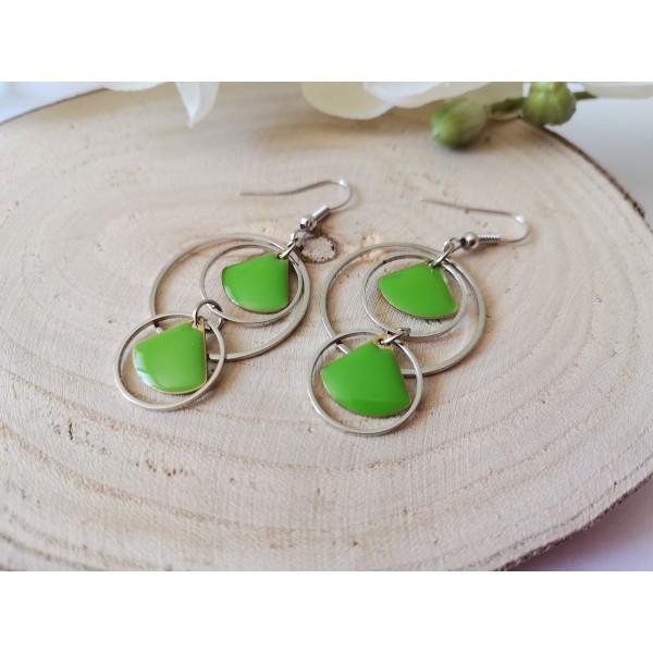 Kit boucles d'oreilles double anneaux argent mat et sequins émail vert - Photo n°2