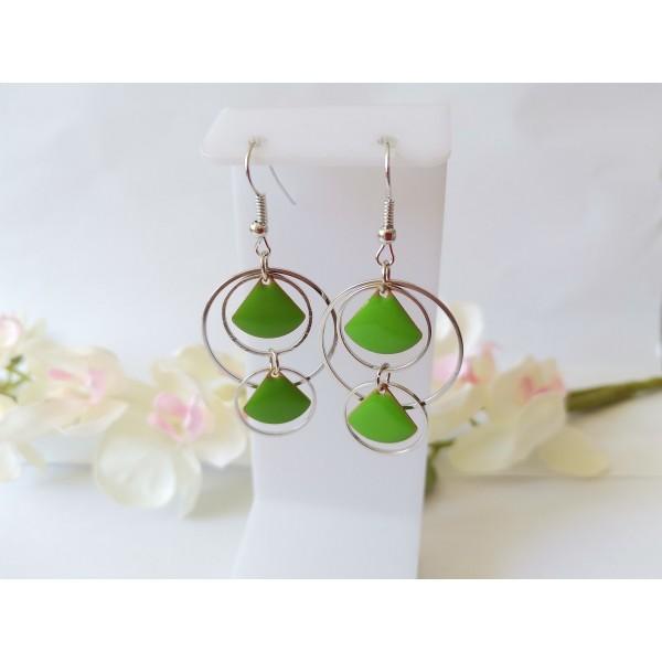 Kit boucles d'oreilles double anneaux argent mat et sequins émail vert - Photo n°1