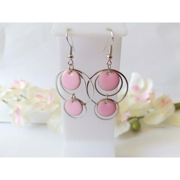 Kit boucles d'oreilles double anneaux argent mat et sequins émail rose - Photo n°1