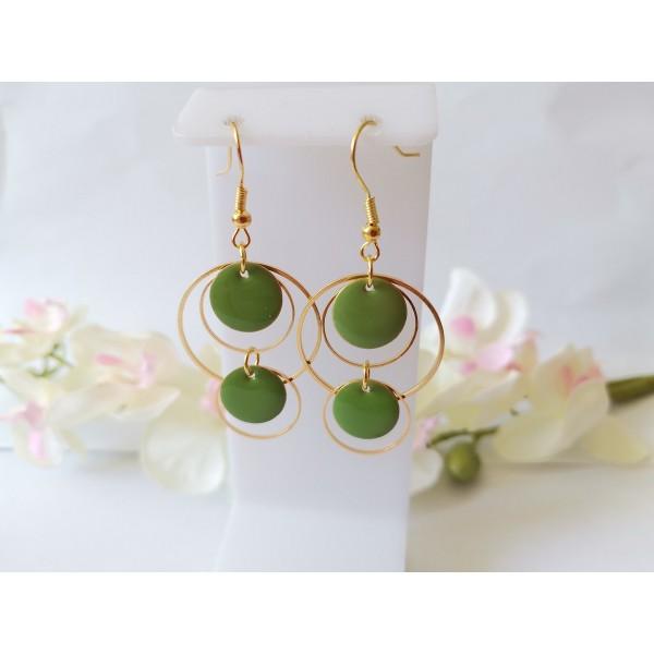 Kit boucles d'oreilles double anneaux dorés et sequins émail vert - Photo n°1