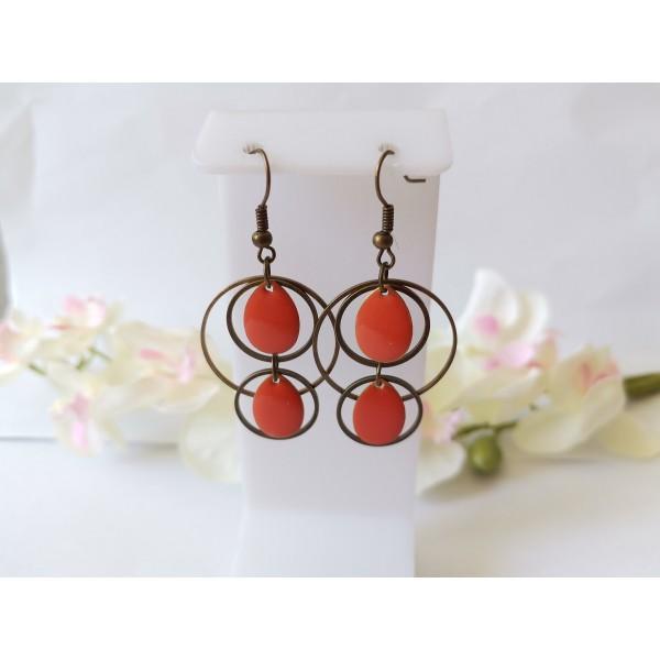 Kit boucles d'oreilles double anneaux bronze et sequins émail orange - Photo n°1