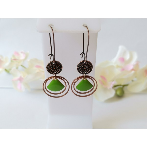 Kit boucles d'oreilles anneaux cuivre rouge et sequins émail vert - Photo n°1