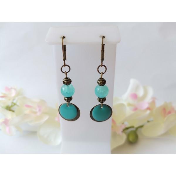 Kit boucles d'oreilles pendentif bronze et perles bleu turquoise - Photo n°1