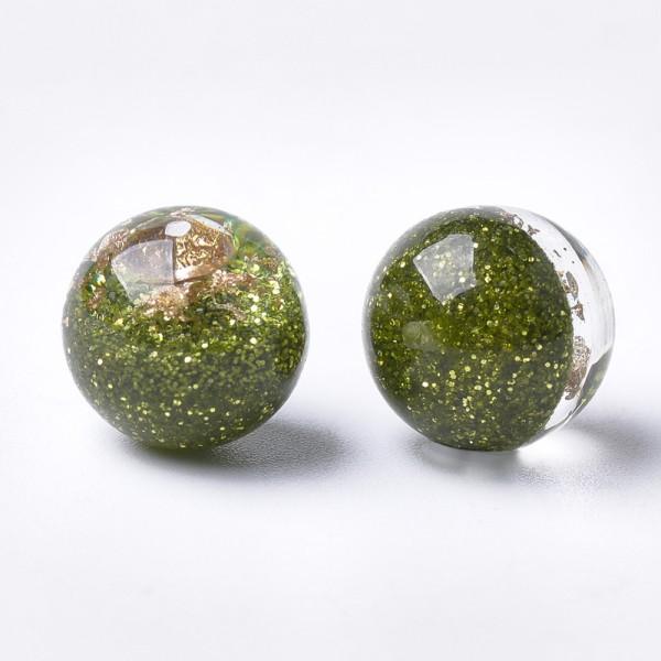 Perles résine feuille d'or 12 mm vert olive x 4 - Photo n°2