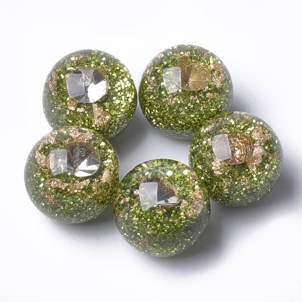 Perles résine feuille d'or 12 mm vert olive x 4 - Photo n°1