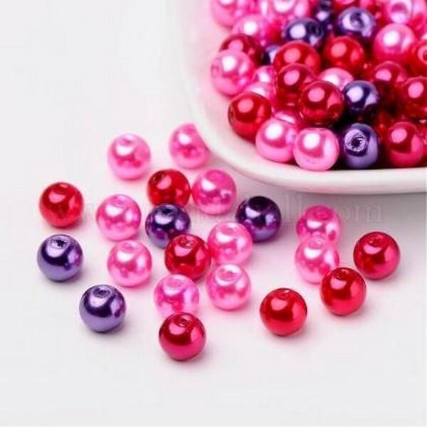 Perles ronde en verre nacré en mélange coloris assortis 6 mm ROUGE ROSE VIOLET - Photo n°1