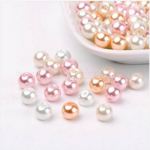 Perles ronde en verre nacré en mélange coloris assortis 6 mm BLANC DORE ROSE - Photo n°1