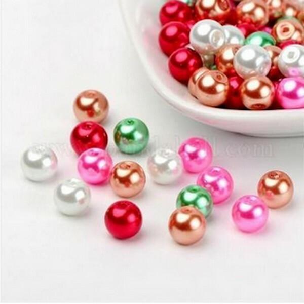 Perles ronde en verre nacré en mélange coloris assortis 6 mm  MULTICOLORE - Photo n°1