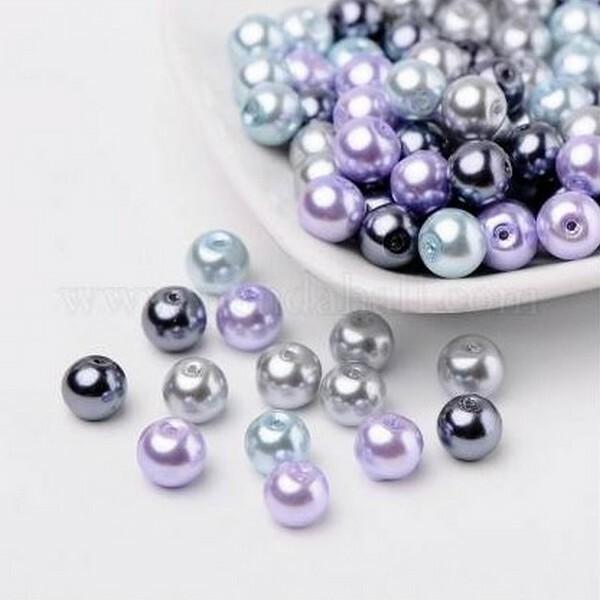 Perles ronde en verre nacré en mélange coloris assortis 6 mm GRIS MAUVE BLEU - Photo n°1