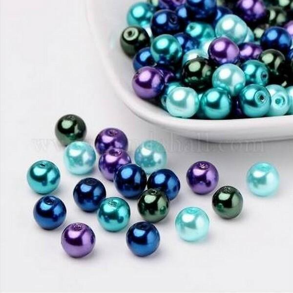 Perles ronde en verre nacré en mélange coloris assortis 6 mm VIOLET BLEU - Photo n°1