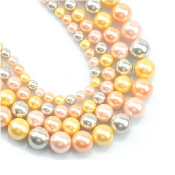 20 perles de nacre ronde 6 mm fabrication bijoux F0511906 - Photo n°1