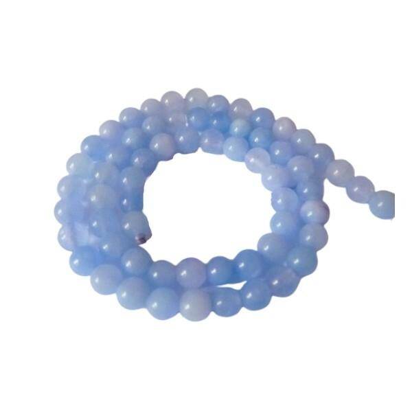 20 perles ronde en pierre naturelle ANGELITE 6 mm BLEU - Photo n°1