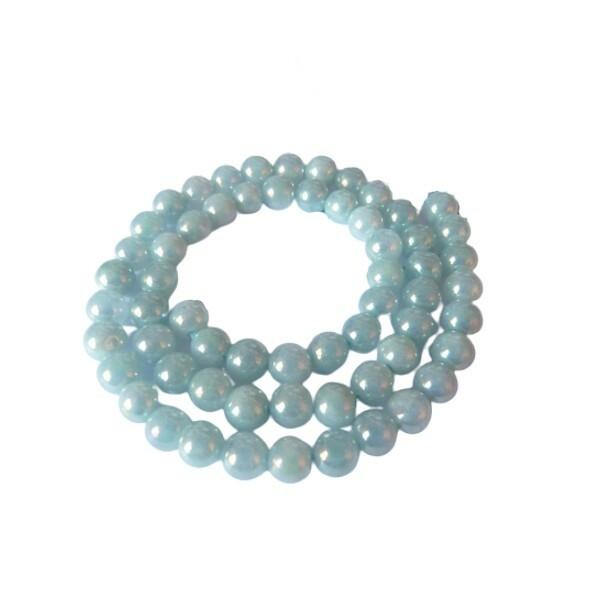 20 perles ronde en pierre galvanisée AIGUE MARINE 6 mm BLEU - Photo n°1