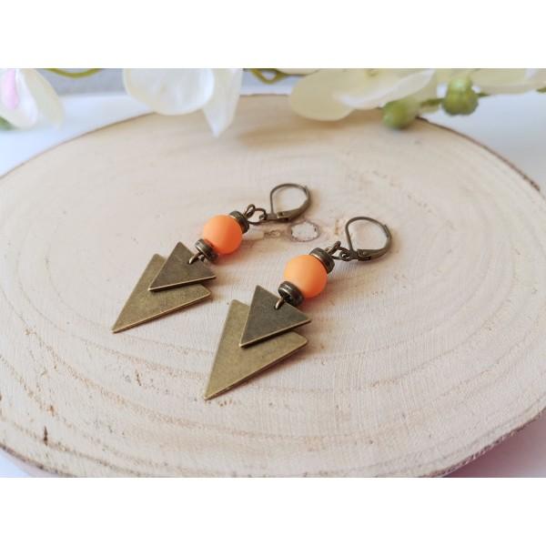 Kit boucles d'oreilles pendentif bronze et perles en verre orange - Photo n°2