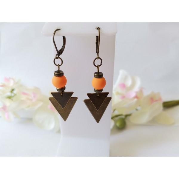 Kit boucles d'oreilles pendentif bronze et perles en verre orange - Photo n°1