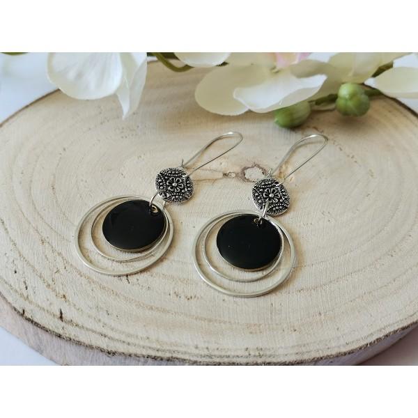 Kit boucles d'oreilles anneaux connecteurs et sequin émail noir - Photo n°2