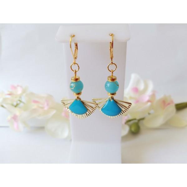 Kit boucles d'oreilles pendentif éventail et perles bleues tréfilées dorées - Photo n°1