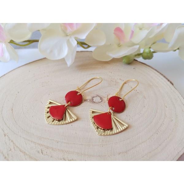 Kit boucles d'oreilles pendentif éventail et sequin émail rouge - Photo n°2