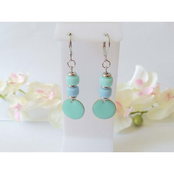 Kit boucles d'oreilles sequin émail bleu ciel et perles en verre colonne bicolore - Photo n°1