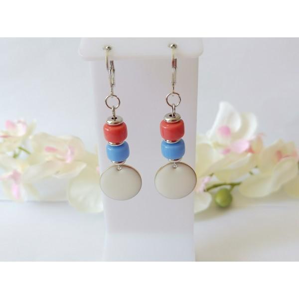 Kit boucles d'oreilles sequin émail blanc et perles en verre colonne bicolore - Photo n°1