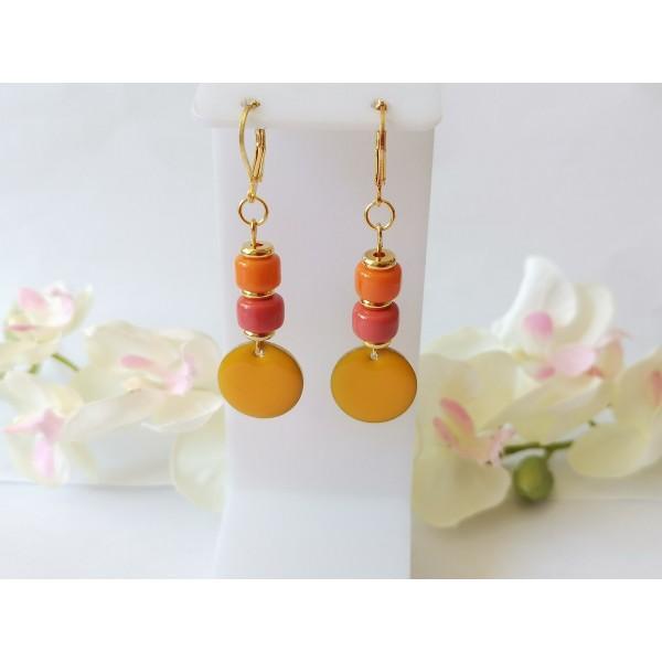 Kit boucles d'oreilles sequin émail orange et perles en verre colonne bicolore - Photo n°1