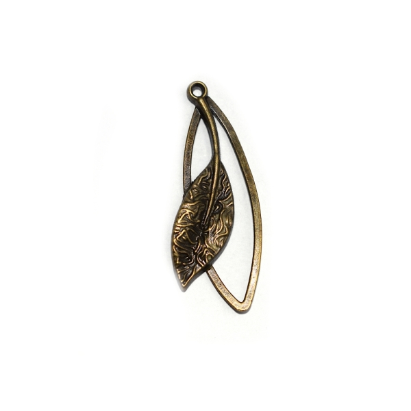 Pendentif ovale + feuille tombante 40x15 mm bronze - Photo n°1