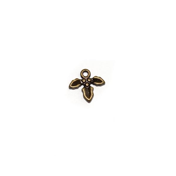 Breloque feuille de gui/houx 14x12 mm bronze - Photo n°1