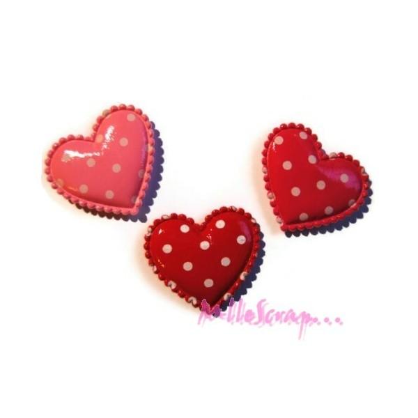 Appliques cœurs tissu plastifié rose, rouge - 6 pièces - Photo n°1